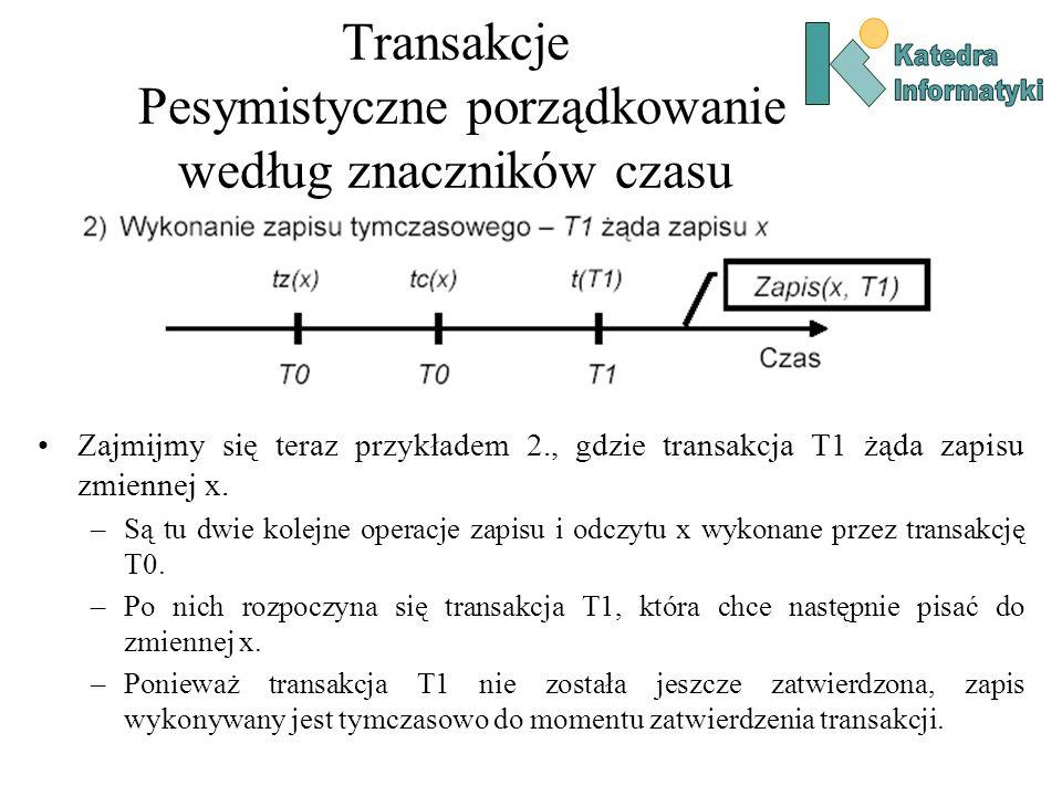 Transakcje Pesymistyczne porządkowanie według znaczników czasu