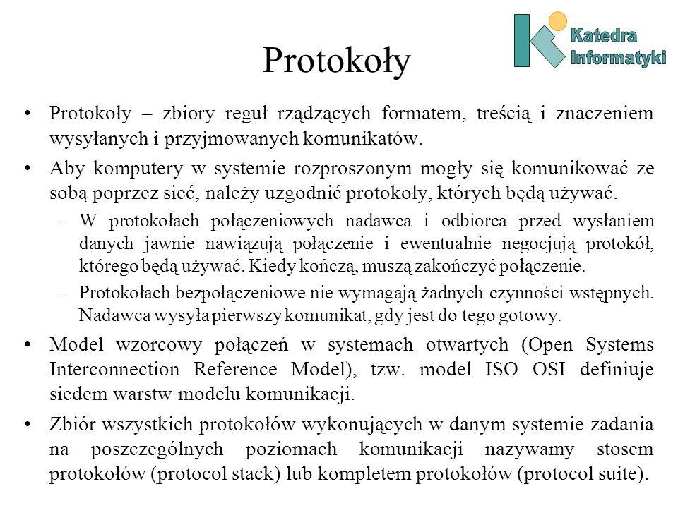 Protokoły Katedra. Informatyki. Protokoły – zbiory reguł rządzących formatem, treścią i znaczeniem wysyłanych i przyjmowanych komunikatów.