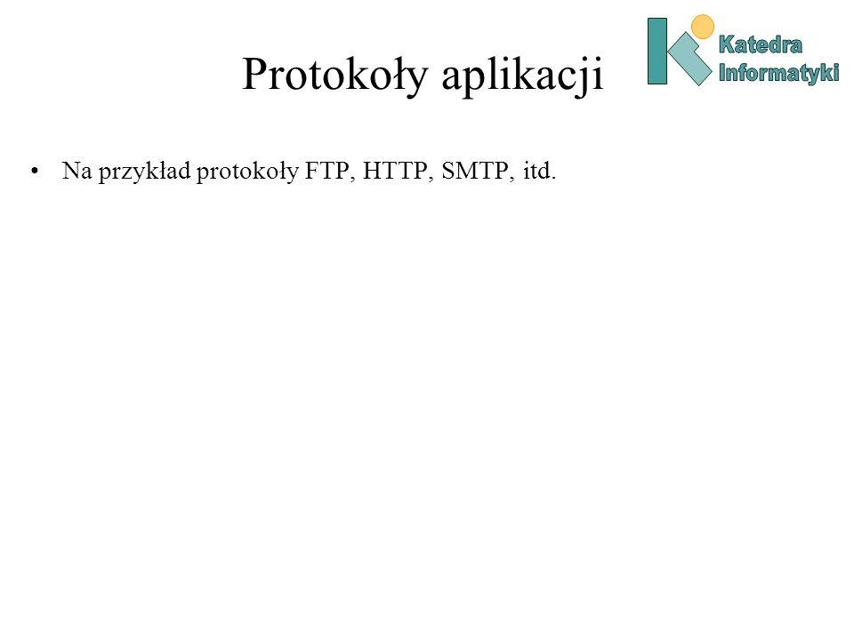 Protokoły aplikacji Na przykład protokoły FTP, HTTP, SMTP, itd.