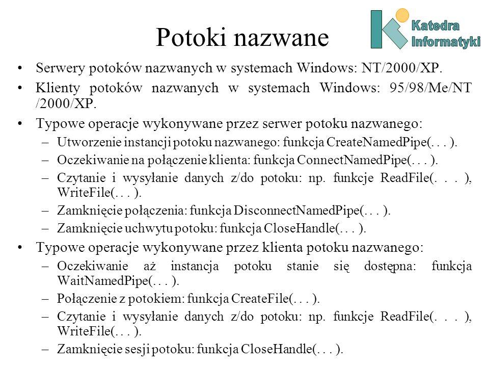 Potoki nazwane Katedra. Informatyki. Serwery potoków nazwanych w systemach Windows: NT/2000/XP.