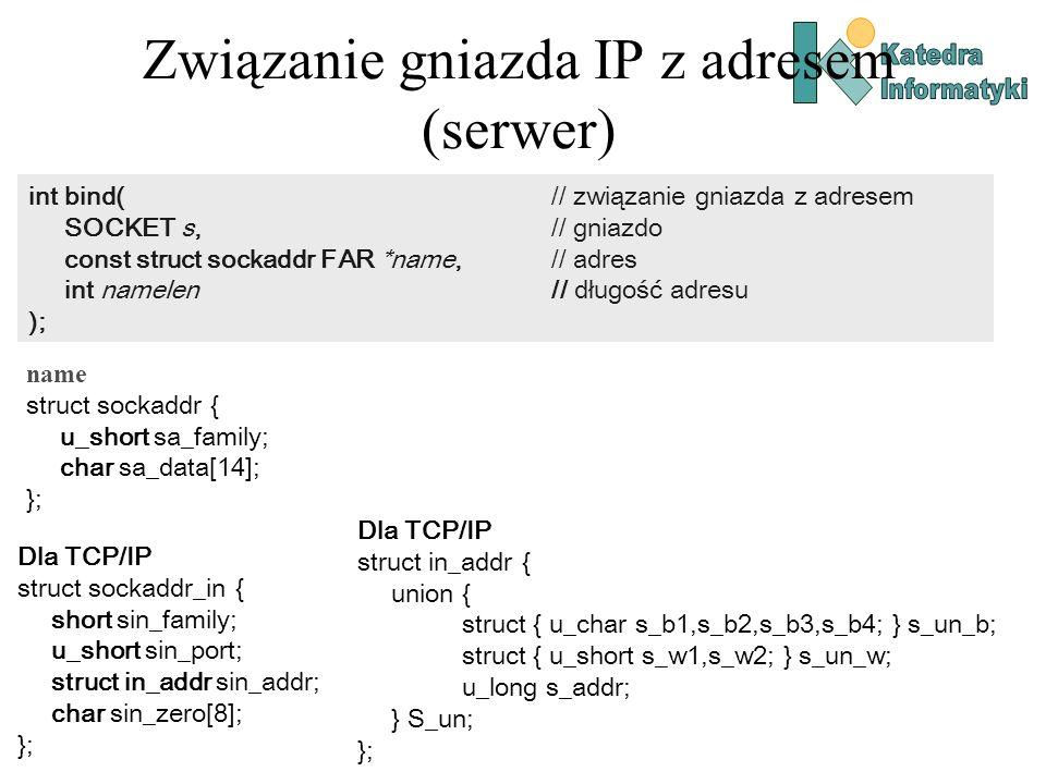 Związanie gniazda IP z adresem (serwer)
