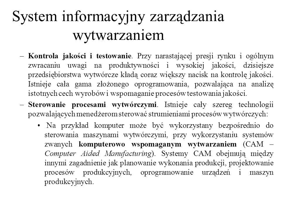 System informacyjny zarządzania wytwarzaniem