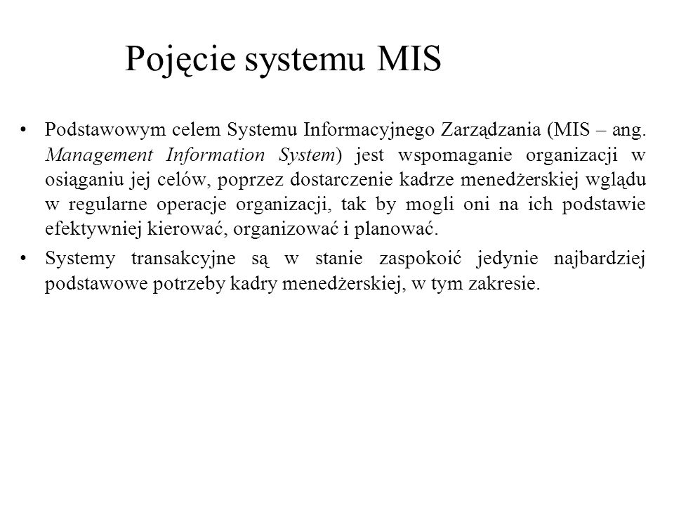 Pojęcie systemu MIS