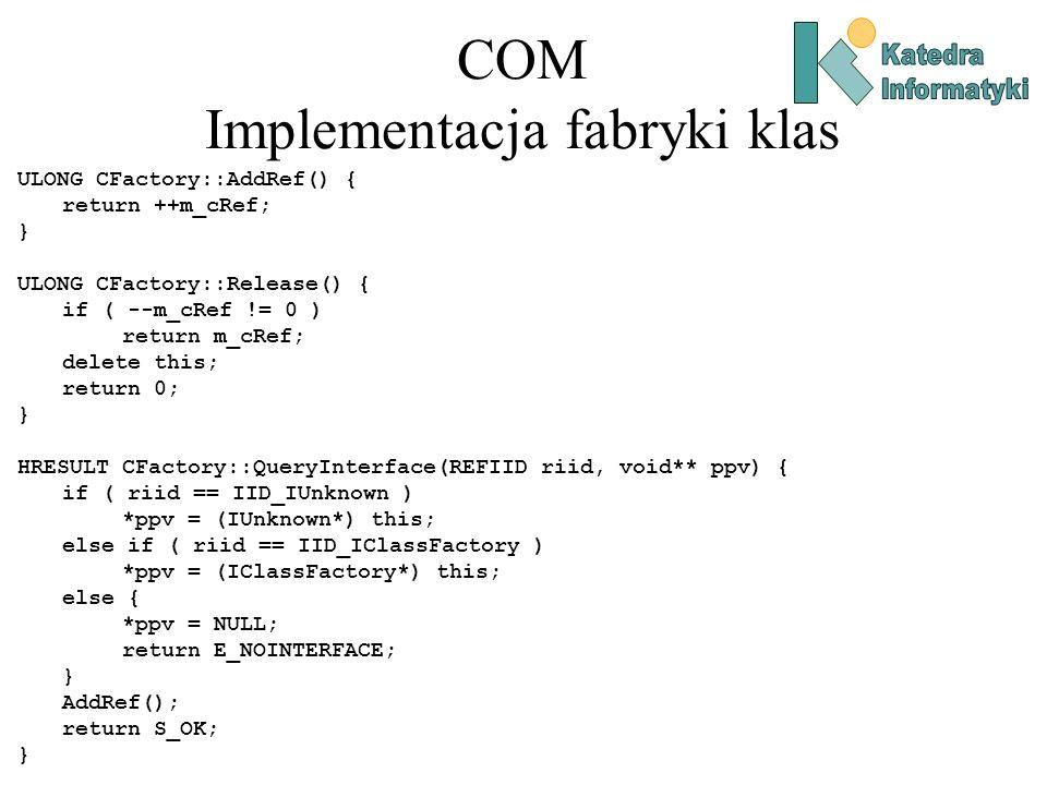 COM Implementacja fabryki klas