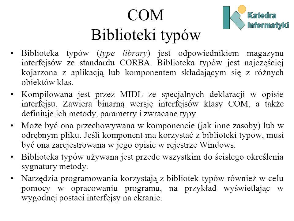 COM Biblioteki typów Katedra. Informatyki.