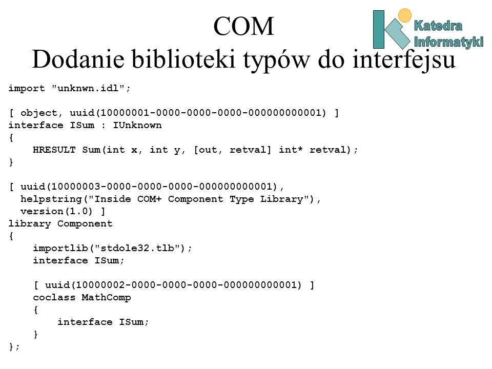 COM Dodanie biblioteki typów do interfejsu