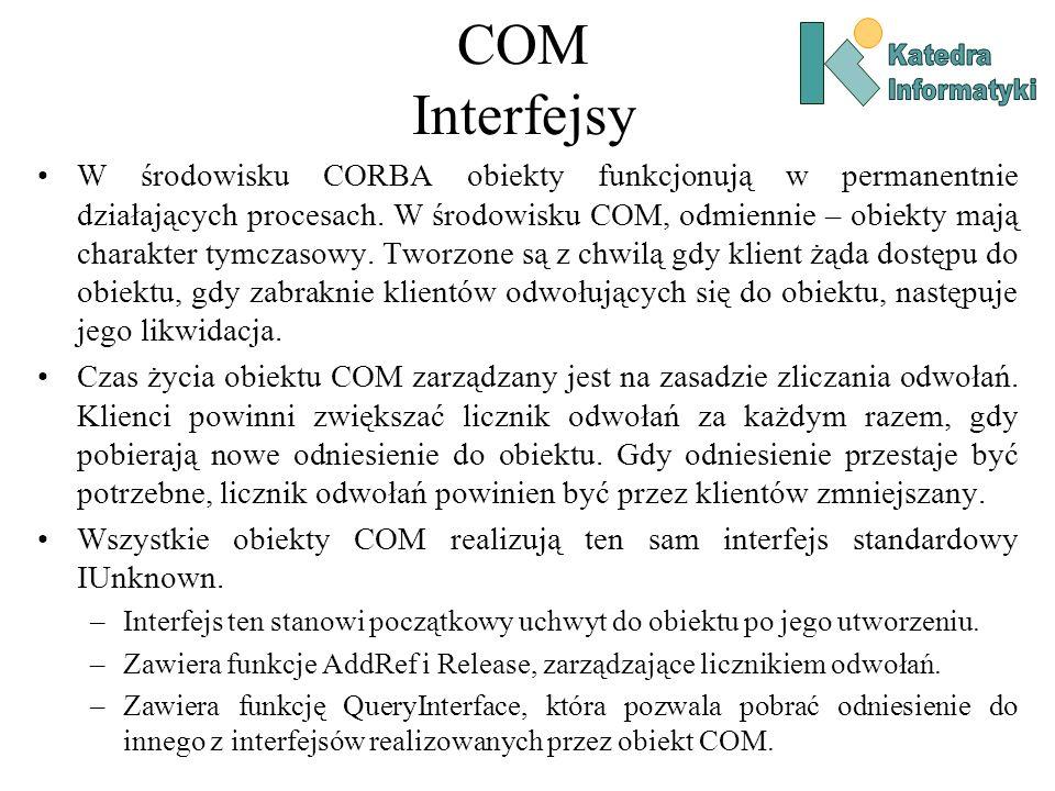 COM Interfejsy Katedra. Informatyki.