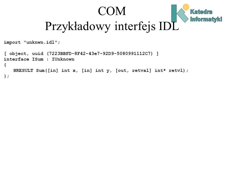 COM Przykładowy interfejs IDL