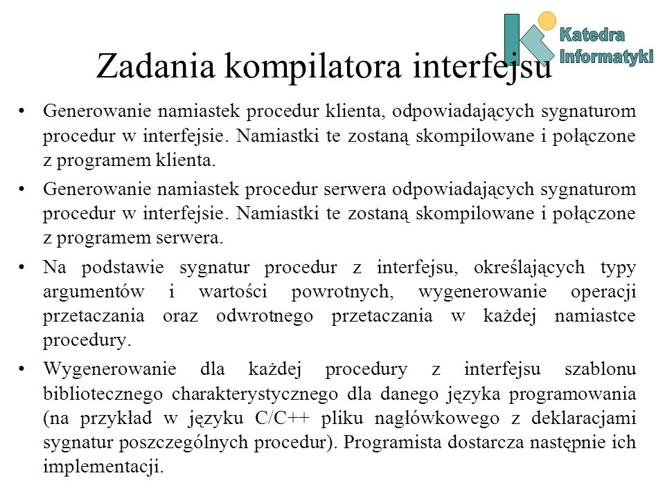 Zadania kompilatora interfejsu