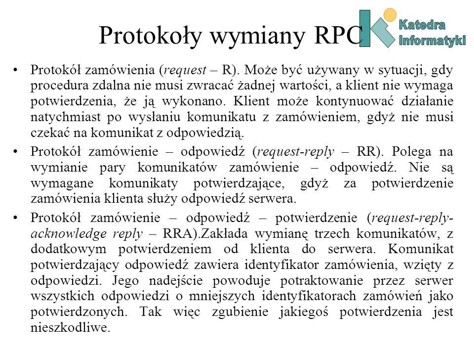 Katedra Informatyki. Protokoły wymiany RPC.