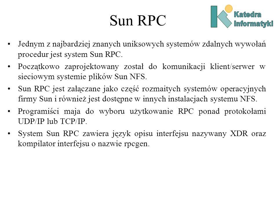 Sun RPC Katedra. Informatyki. Jednym z najbardziej znanych uniksowych systemów zdalnych wywołań procedur jest system Sun RPC.