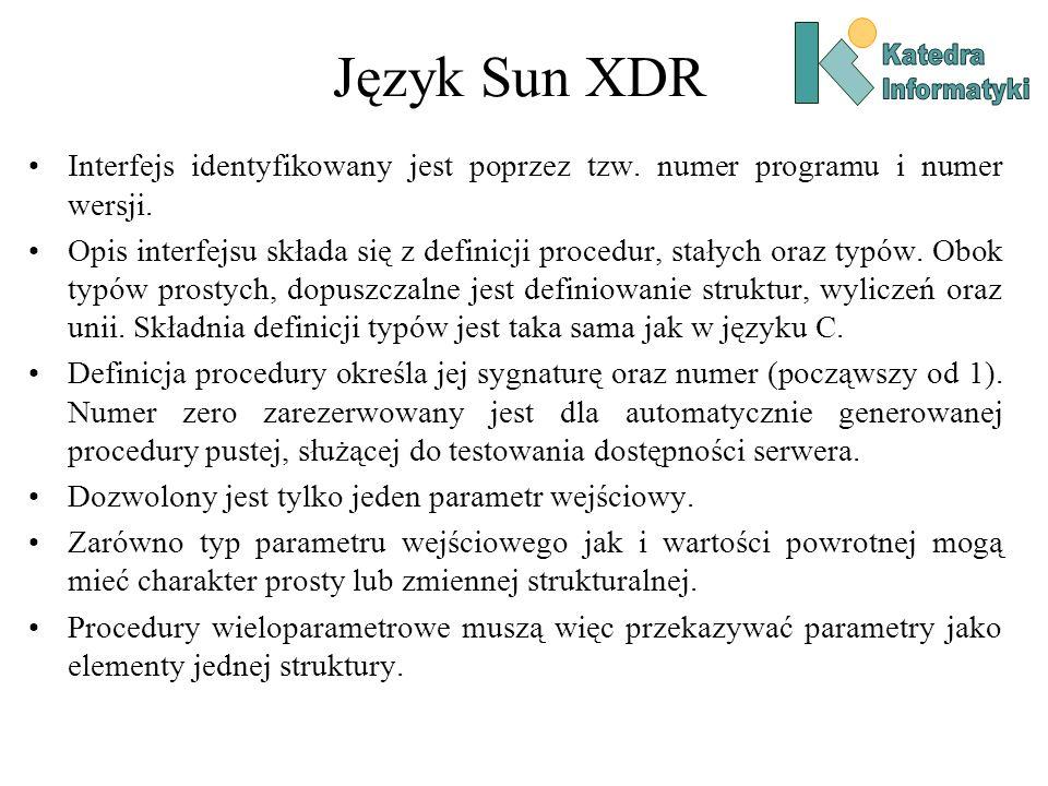 Język Sun XDR Katedra. Informatyki. Interfejs identyfikowany jest poprzez tzw. numer programu i numer wersji.