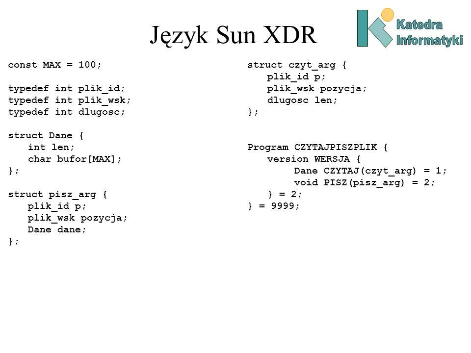 Język Sun XDR const MAX = 100; typedef int plik_id;