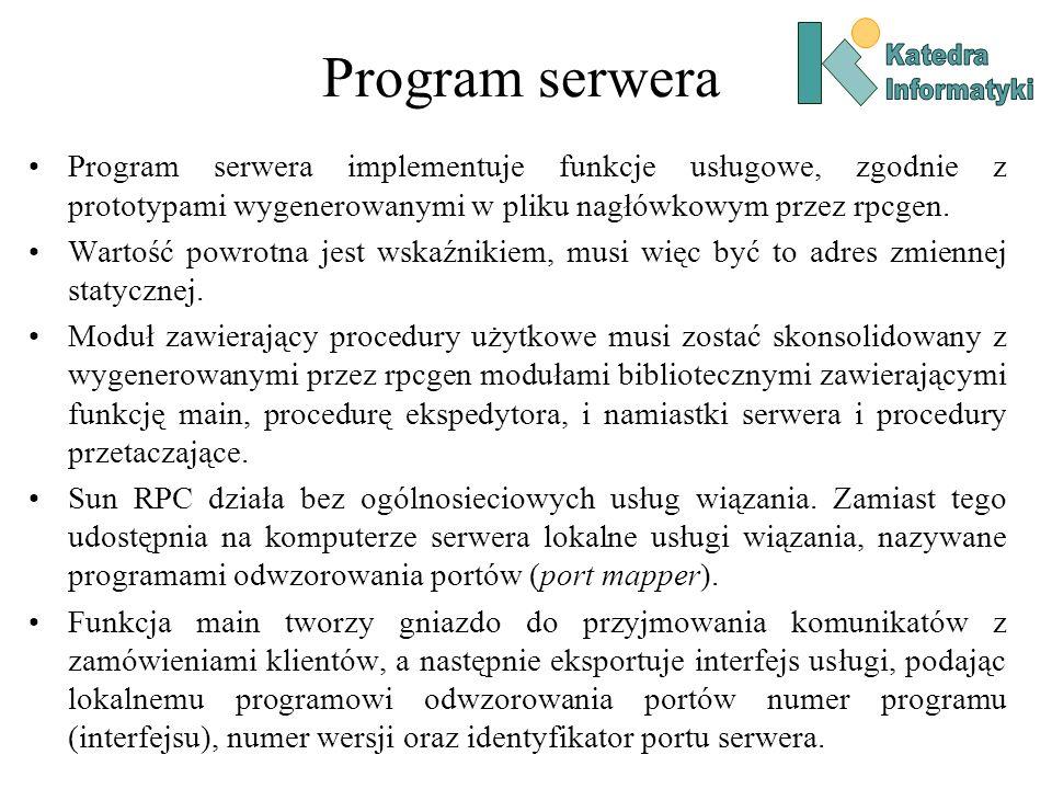 Program serweraKatedra. Informatyki.