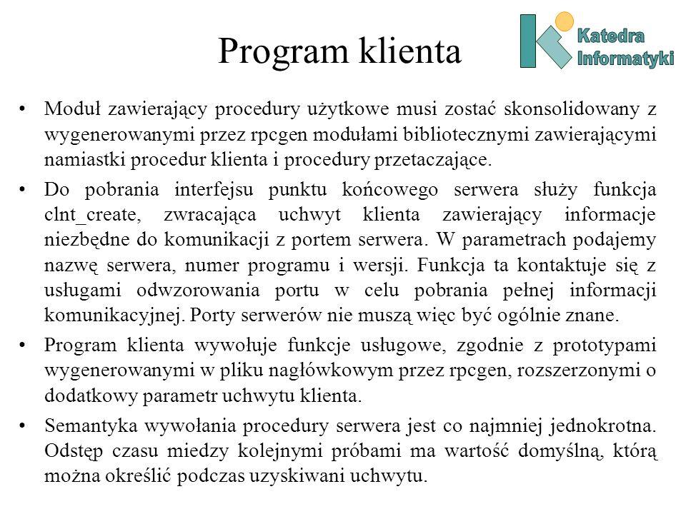 Program klienta Katedra. Informatyki.