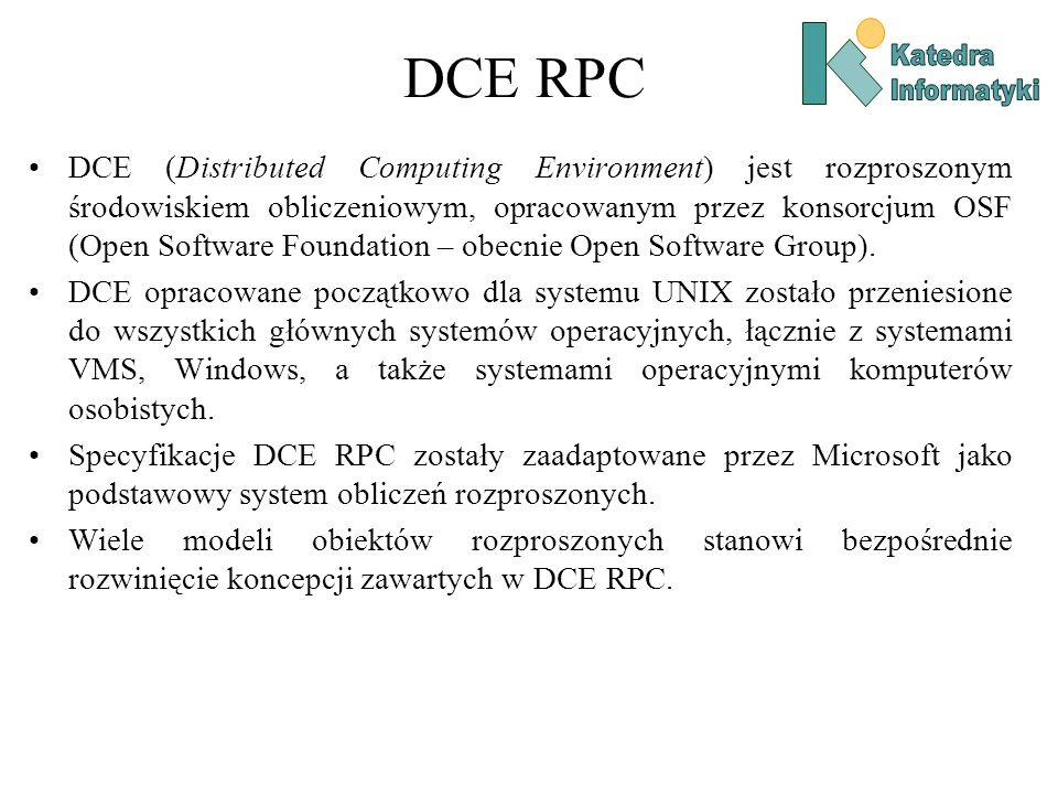 DCE RPCKatedra. Informatyki.