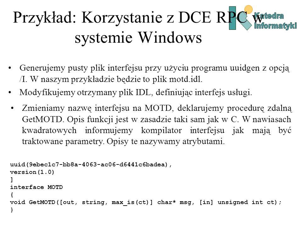 Przykład: Korzystanie z DCE RPC w systemie Windows