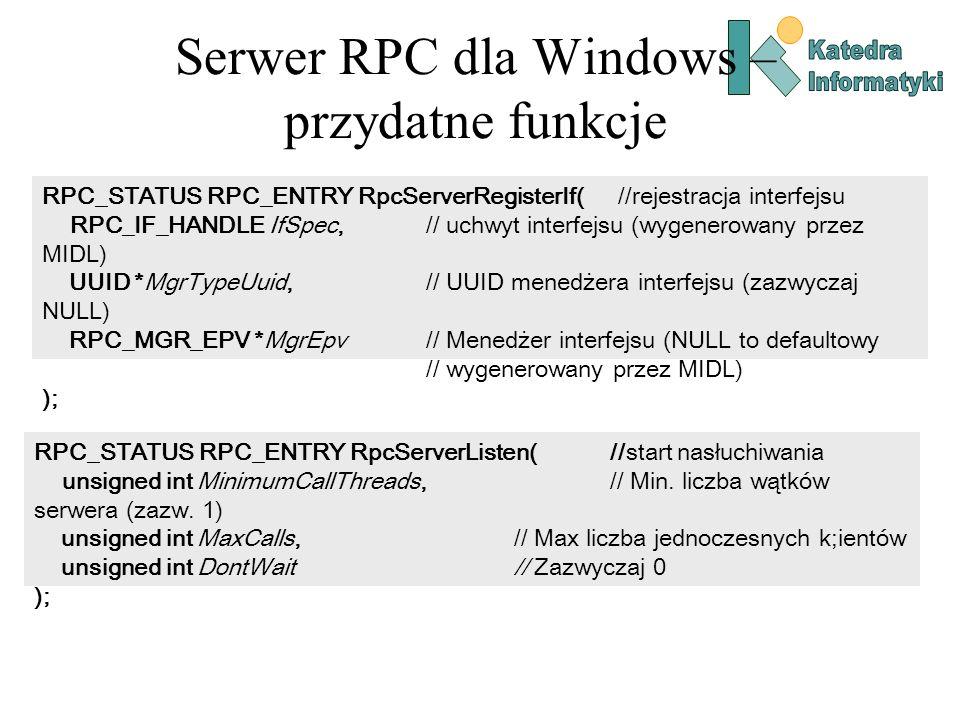 Serwer RPC dla Windows – przydatne funkcje