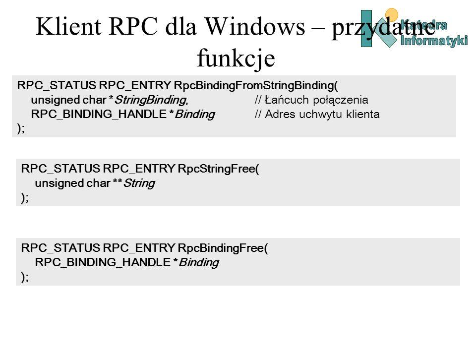 Klient RPC dla Windows – przydatne funkcje