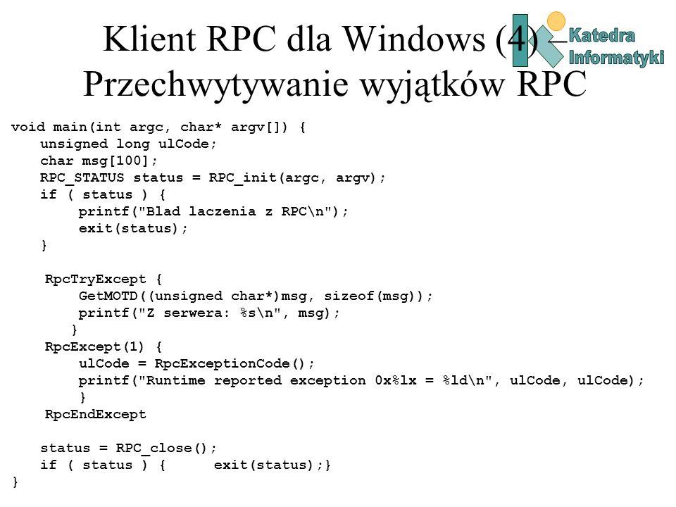 Klient RPC dla Windows (4) – Przechwytywanie wyjątków RPC