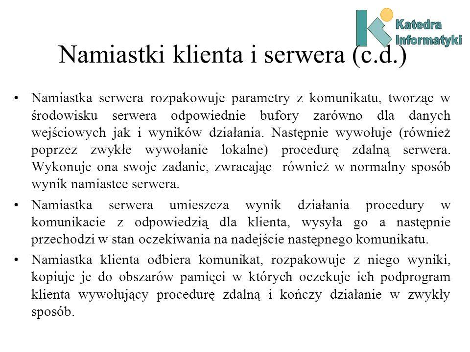 Namiastki klienta i serwera (c.d.)
