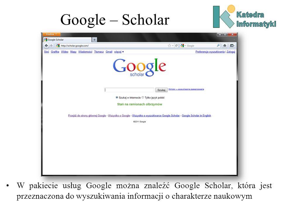 Google – ScholarKatedra. Informatyki.