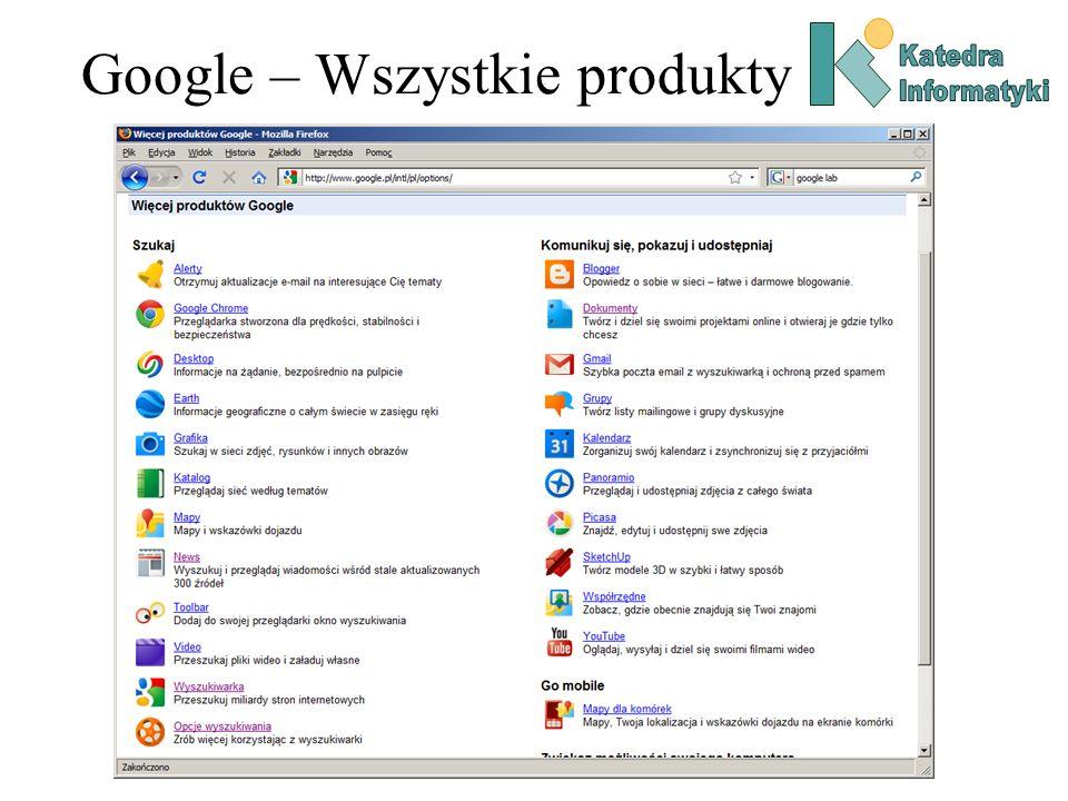 Google – Wszystkie produkty