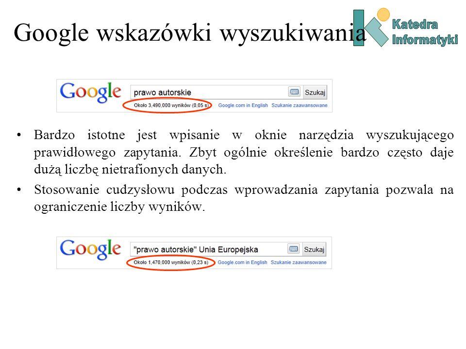 Google wskazówki wyszukiwania