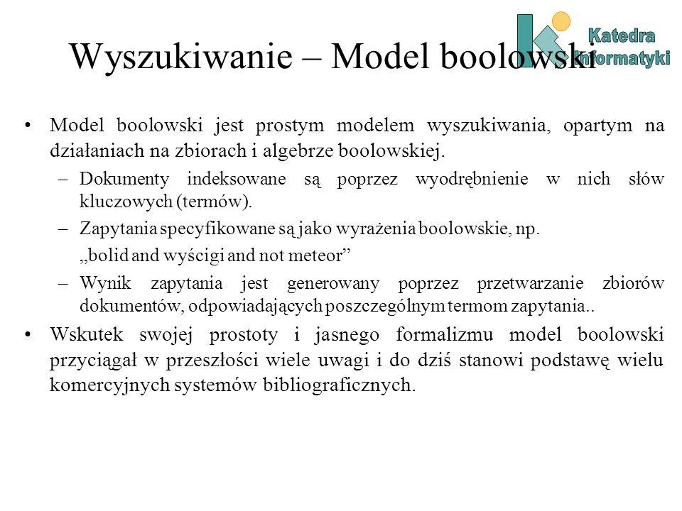 Wyszukiwanie – Model boolowski