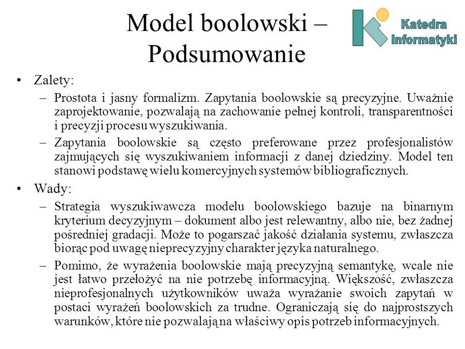 Model boolowski – Podsumowanie