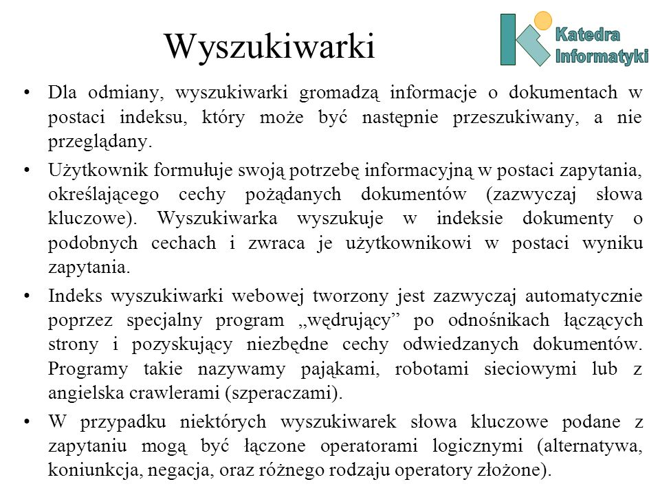 WyszukiwarkiKatedra. Informatyki.