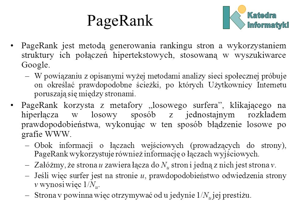 PageRankKatedra. Informatyki.