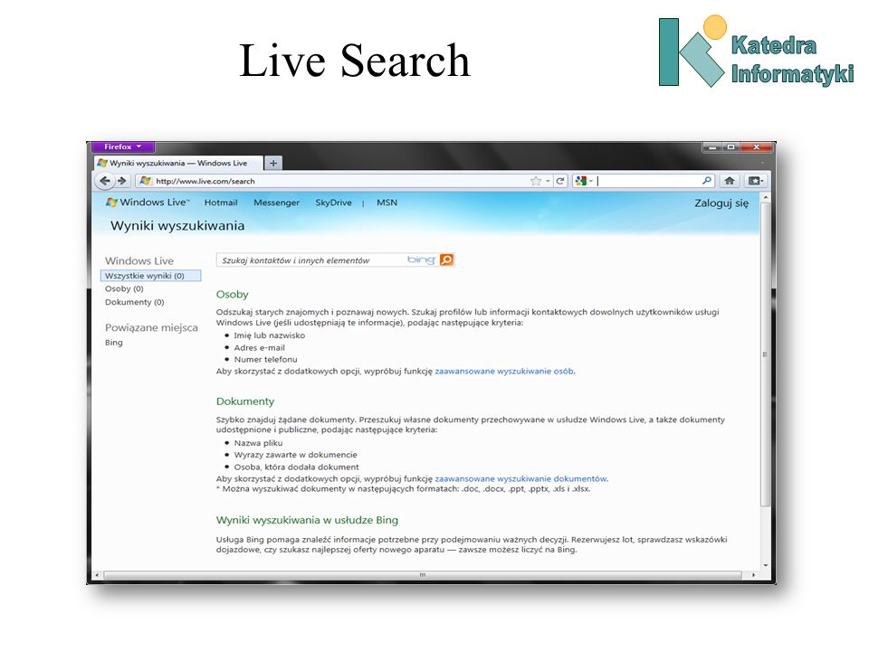 Live Search Katedra Informatyki