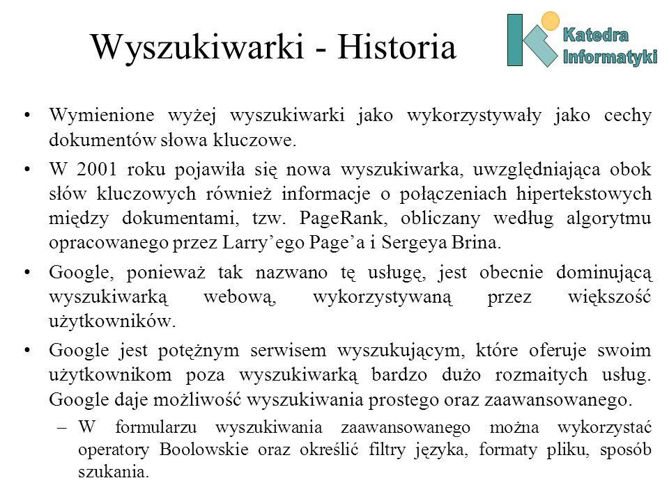 Wyszukiwarki - Historia