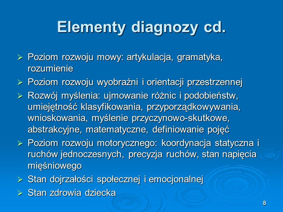 Elementy diagnozy cd.Poziom rozwoju mowy: artykulacja, gramatyka, rozumienie. Poziom rozwoju wyobraźni i orientacji przestrzennej.