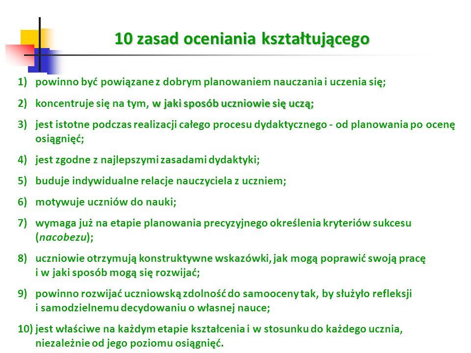 10 zasad oceniania kształtującego