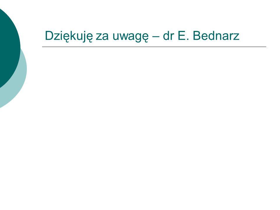 Dziękuję za uwagę – dr E. Bednarz