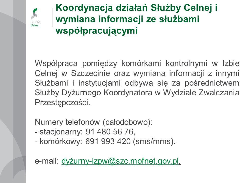 Koordynacja działań Służby Celnej i wymiana informacji ze służbami współpracującymi