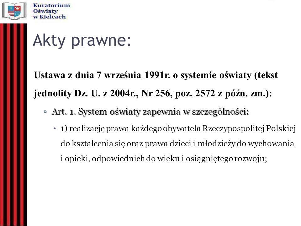 Akty prawne: Ustawa z dnia 7 września 1991r. o systemie oświaty (tekst jednolity Dz. U. z 2004r., Nr 256, poz. 2572 z późn. zm.):