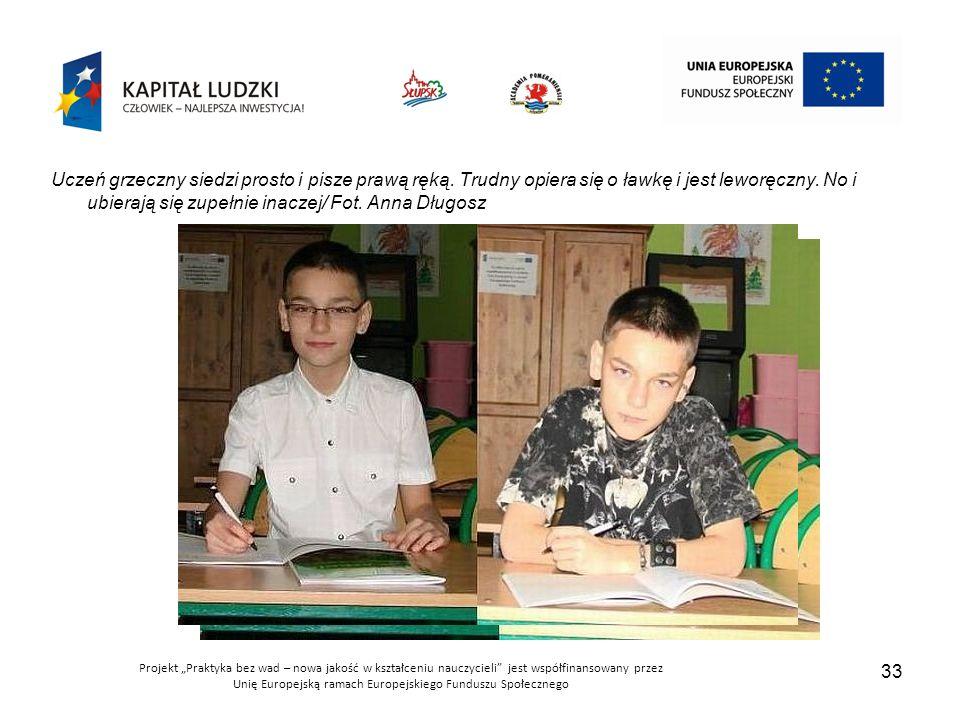 Uczeń grzeczny siedzi prosto i pisze prawą ręką