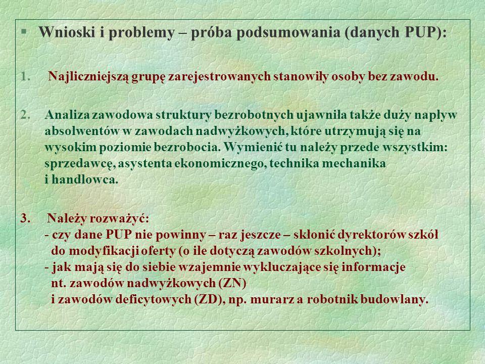 Wnioski i problemy – próba podsumowania (danych PUP):