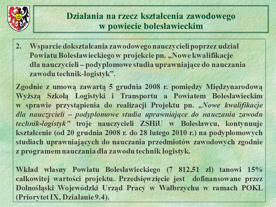 Działania na rzecz kształcenia zawodowego w powiecie bolesławieckim
