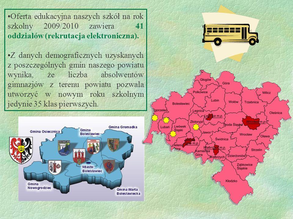 Oferta edukacyjna naszych szkół na rok szkolny 2009/2010 zawiera 41 oddziałów (rekrutacja elektroniczna).