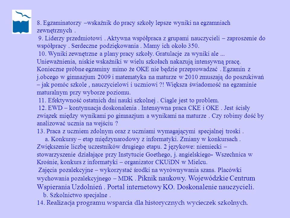 8. Egzaminatorzy –wskaźnik do pracy szkoły lepsze wyniki na egzamniach zewnętrznych .