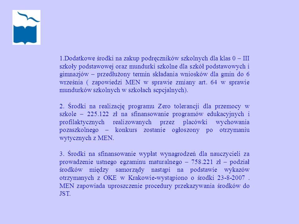 Dodatkowe środki na zakup podręczników szkolnych dla klas 0 – III szkoły podstawowej oraz mundurki szkolne dla szkół podstawowych i gimnazjów – przedłużony termin składania wniosków dla gmin do 6 września ( zapowiedzi MEN w sprawie zmiany art. 64 w sprawie mundurków szkolnych w szkołach scpcjalnych).