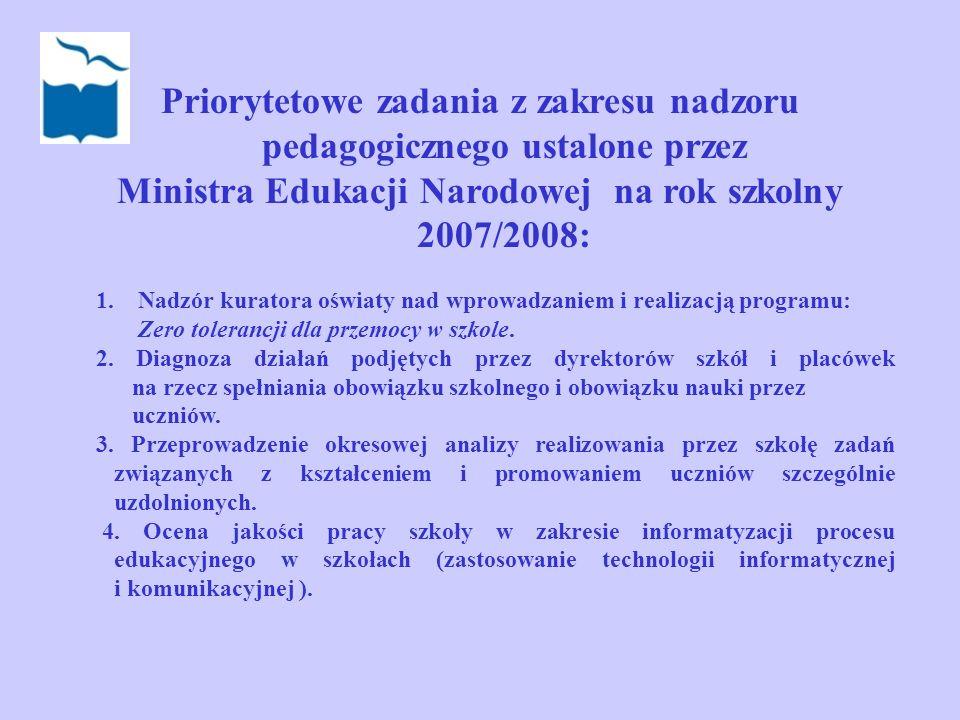Priorytetowe zadania z zakresu nadzoru pedagogicznego ustalone przez