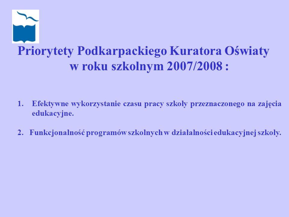 Priorytety Podkarpackiego Kuratora Oświaty w roku szkolnym 2007/2008 :