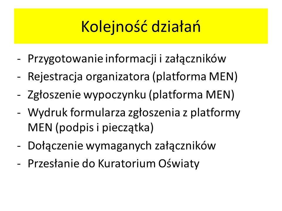 Kolejność działań Przygotowanie informacji i załączników