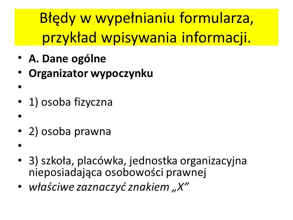 Błędy w wypełnianiu formularza, przykład wpisywania informacji.
