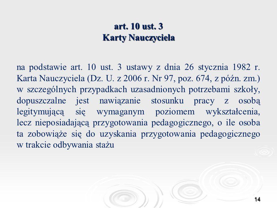 art. 10 ust. 3 Karty Nauczyciela